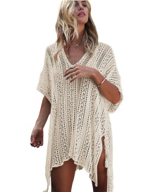 Fashion Beige Pure Color Design Hollow Out Smock