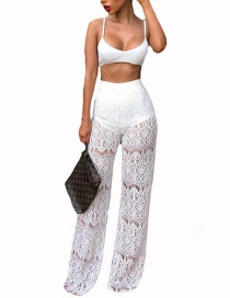 Fashion White Pure Color Decorated Hollow Out Trousers
