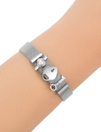 Fashion Silver Color Key&pearl Decoraated Pure Color Bracelet