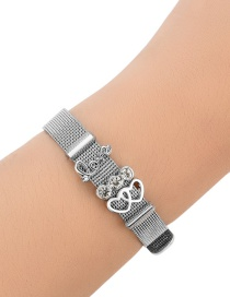 Fashion Silver Color Double Heart Shape Decorated Pure Color Bracelet