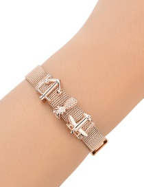 Fashion Rose Gold Anchor&aircraft Decorated Pure Color Bracelet