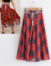 Fashion Red Flowers Decorated Drawstring Skirt