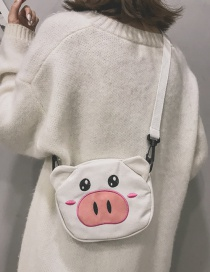 Fashion White Pig Pattern Decorated Shoulder Bag