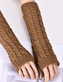 Fashion Light Brown Hemp Flowers Shape Design Long Gloves