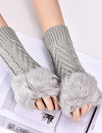 Fashion Gray Hemp Flowers Shape Design Gloves