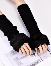 Fashion Black Rhombus Shape Pattern Design Gloves