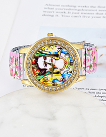 Fashion Light Pink Girl&flowers Pattern Decorated Watch