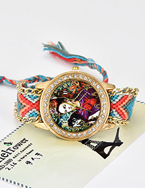 Fashion Blue Monkey&girl Pattern Decorated Tassel Watch
