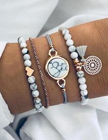 Fashion Gold Color Tassel&beads Decorated Bracelet(4pcs)