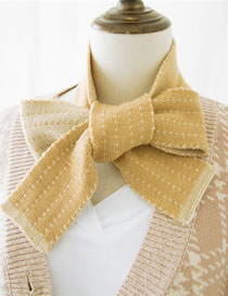 Fashion Yellow Stripe Pattern Decorated Knitted Scarf
