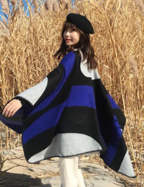 Fashion Sapphire Blue Color Matching Design Simple Shawl