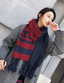 Fashion Navy+red Braids Shape Decorated Thicken Scarf