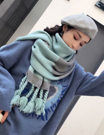 Fashion Green+gray Braids Shape Decorated Thicken Scarf