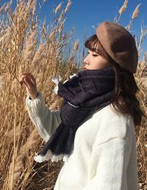 Fashion Navy Tassel Decorated Dual-use Thicken Scarf