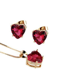 Elegant Red Diamond Decorated Heart Shape Jewelry Sets