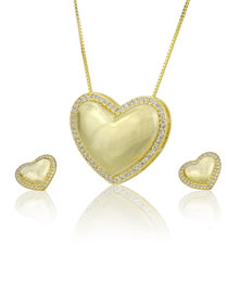 Elegant Gold Color Heart Shape Design Jewelry Sets