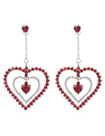 Fashion Red Full Diamond Design Heart Shape Earrings