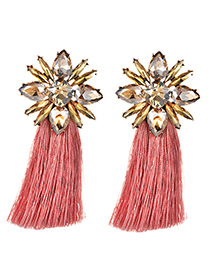 Elegant Champagne+pink Diamond Decorated Long Tassel Earrings