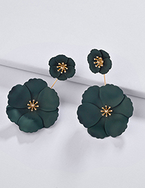 Fashion Dark Green Flower Shape Decorated Earrings