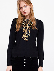 Fashion Black Diamond Decorated Pure Color Sweater