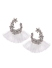 Elegant White Full Diamond Design Tassel Earrings