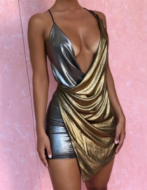 Fashion Gold Color+silver Color Color-matching Decorated Suspender Dress
