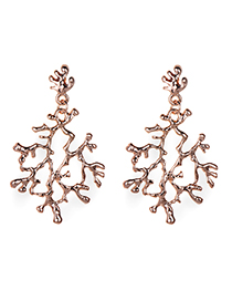 Fashion Rose Gold Branch Shape Design Pure Color Earrings