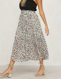 Fashion White Leopard Pattern Decorated Dress