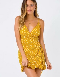 Fashion Yellow Dots Pattern Decorated Dress