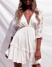 Fashion White V Neckline Design Pure Color Dress