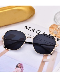 Fashion Black+gold Color Geometric Shape Decorated Glasses