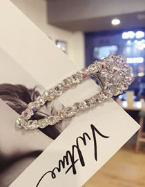 Simple Silver Color Diamond Decorated Hair Clip