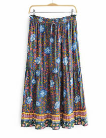 Fashion Navy Flower Pattern Decorated Skirt