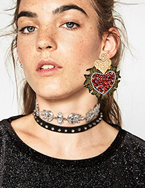Fashion Red Heart Shape Decorated Earrings