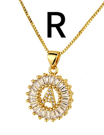 Simple Gold Color Letter R Shape Decorated Necklace