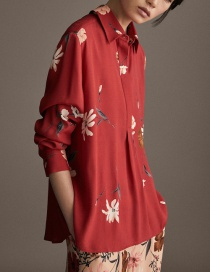 Fashion Red Flower Pattern Decorated Shirt