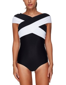 Simple Black Color Matching Decorated Swimwear
