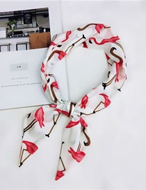 Lovely White Flamingo Pattern Decorated Wide Scarf