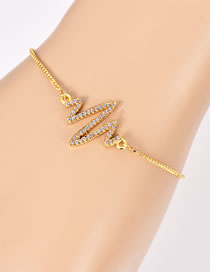 Fashion Gold Color Electrocardiogram Shape Decorated Bracelet