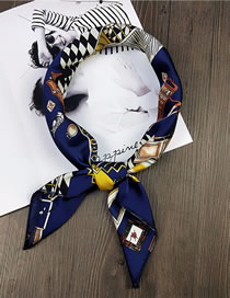 Fashion Navy Warm Home Pattern Decorated Scarf