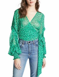 Fashion Green Flowers Decorated V Neckline Shirt