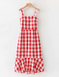 Fashion Red Grid Pattern Decorated Suspender Dress