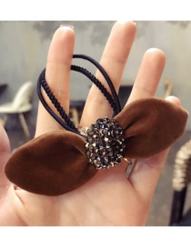 Elegant Brown Diamond Decorated Ears Shape Hair Band
