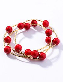 Sweet Red Pearls Decorated Pure Color Bracelet