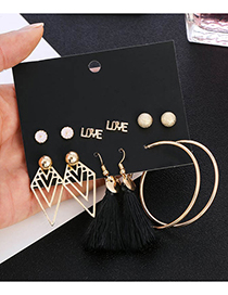 Elegant Alloy Balls&pearls Decorated Earrings(6pairs)