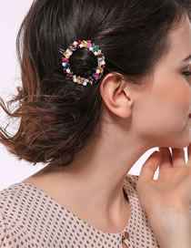 Fashion Multi-color Full Diamond Design Round Shape Hair Clip