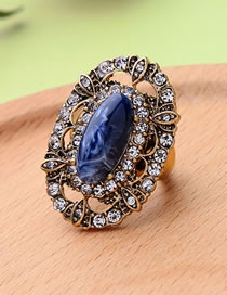 Fashion Antique Gold Diamond Decorated Hollow Out Ring