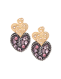 Elegant Pink Full Diamond Design Heart Shape Earrings