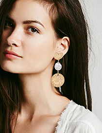 Elegant Gold Color Coins Decorated Heart Shape Earrings