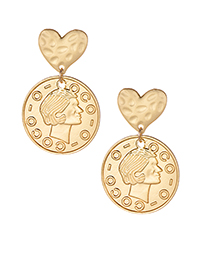 Elegant Gold Color Coins Decorated Pure Color Earrings